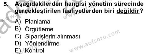 İşletme Bölümü 4. Yarıyıl Muhasebede Bilgi Yönetimi Dersi 2013 Yılı Bahar Dönemi Ara Sınavı 5. Soru