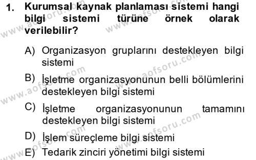 Muhasebede Bilgi Yönetimi Dersi 2013 - 2014 Yılı (Final) Dönem Sonu Sınav Soruları 1. Soru