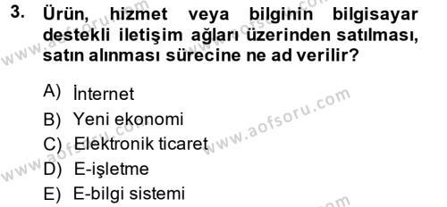 Muhasebede Bilgi Yönetimi Dersi 2014 - 2015 Yılı Dönem Sonu Sınavı 3. Soru