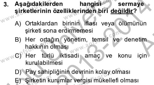 Maliye Bölümü 4. Yarıyıl Şirketler Muhasebesi Dersi 2014 Yılı Bahar Dönemi Ara Sınavı 3. Soru