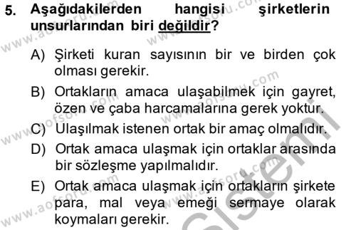 Maliye Bölümü 4. Yarıyıl Şirketler Muhasebesi Dersi 2014 Yılı Bahar Dönemi Ara Sınavı 5. Soru