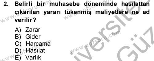 Maliyet Muhasebesi Dersi 2012 - 2013 Yılı Ara Sınavı 2. Soru