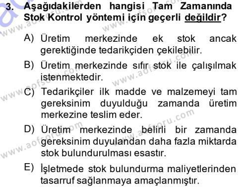 Maliyet Muhasebesi Dersi 2013 - 2014 Yılı Dönem Sonu Sınavı 3. Soru