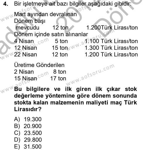 Maliyet Analizleri Dersi 2012 - 2013 Yılı (Final) Dönem Sonu Sınav Soruları 4. Soru