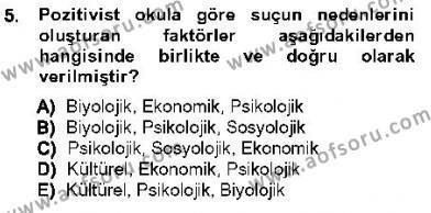 Özel Güvenlik ve Koruma Bölümü 3. Yarıyıl Kriminoloji Dersi 2013 Yılı Güz Dönemi Ara Sınavı 5. Soru