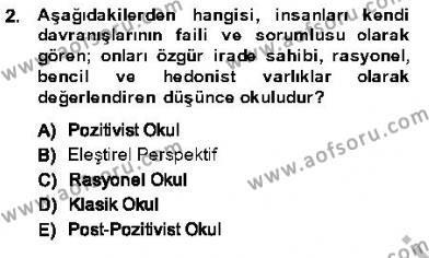 Özel Güvenlik ve Koruma Bölümü 3. Yarıyıl Kriminoloji Dersi 2014 Yılı Güz Dönemi Ara Sınavı 2. Soru