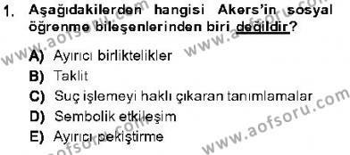 Kriminoloji Dersi 2013 - 2014 Yılı Dönem Sonu Sınavı 1. Soru