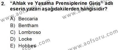 Özel Güvenlik ve Koruma Bölümü 3. Yarıyıl Kriminoloji Dersi 2015 Yılı Güz Dönemi Ara Sınavı 2. Soru