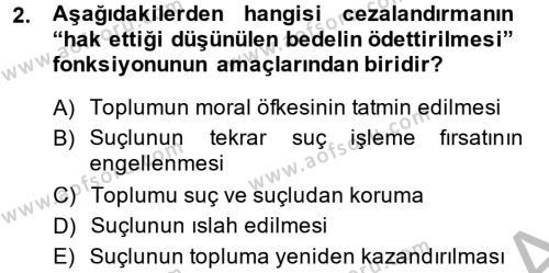 Suç Önleme Modelleri Dersi 2013 - 2014 Yılı (Final) Dönem Sonu Sınav Soruları 2. Soru
