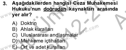 Temel Ceza Muhakemesi Hukuku Bilgisi Dersi 2012 - 2013 Yılı Ara Sınavı 3. Soru