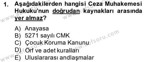 Temel Ceza Muhakemesi Hukuku Bilgisi Dersi 2012 - 2013 Yılı Dönem Sonu Sınavı 1. Soru