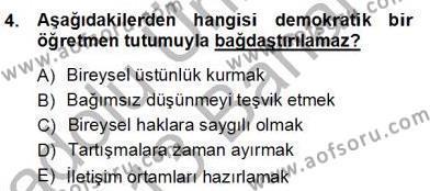 Okulöncesinde Demokrasi Eğitimi Ve Çocuk Hakları Dersi 2012 - 2013 Yılı (Final) Dönem Sonu Sınav Soruları 4. Soru