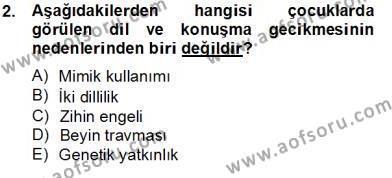 Erken Çocukluk Döneminde Gelişim 2 Dersi 2012 - 2013 Yılı (Final) Dönem Sonu Sınav Soruları 2. Soru