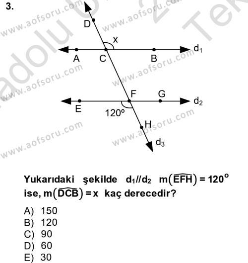 Okulöncesi Öğretmenliği Bölümü 5. Yarıyıl Okulöncesinde Matematik Eğitimi Dersi 2014 Yılı Güz Dönemi Tek Ders Sınavı 3. Soru