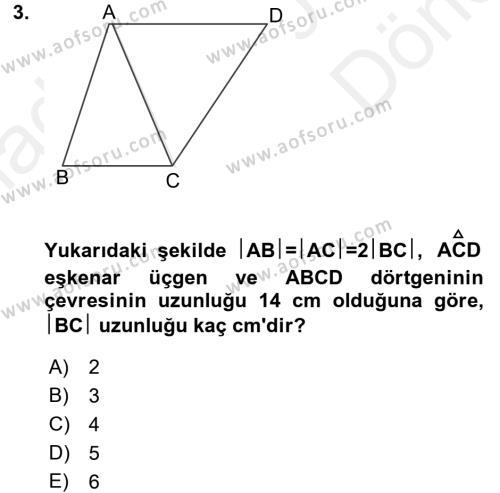 Okulöncesinde Matematik Eğitimi Dersi Dönem Sonu Sınavı Deneme Sınav Soruları 3. Soru