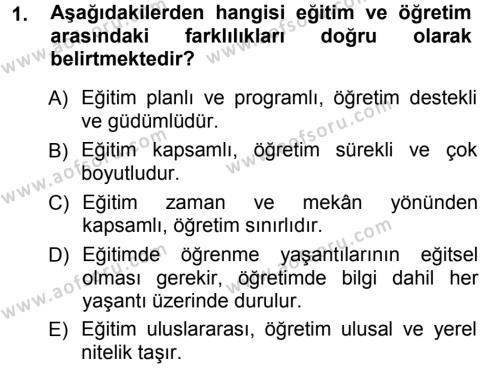 Eğitim Bilimine Giriş Dersi 2012 - 2013 Yılı Ara Sınavı 1. Soru