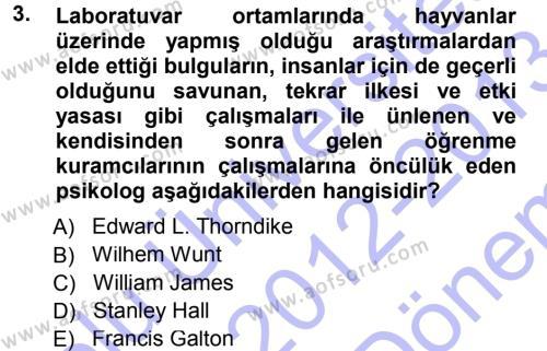 İngilizce Öğretmenliği Bölümü 1. Yarıyıl Eğitim Bilimine Giriş Dersi 2013 Yılı Güz Dönemi Dönem Sonu Sınavı 3. Soru