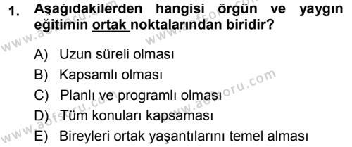 Eğitim Bilimine Giriş Dersi 2013 - 2014 Yılı Ara Sınavı 1. Soru