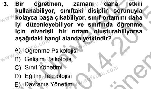 Eğitim Bilimine Giriş Dersi 2014 - 2015 Yılı Dönem Sonu Sınavı 3. Soru