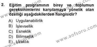 Öğretim İlke Ve Yöntemleri Dersi 2012 - 2013 Yılı Dönem Sonu Sınavı 2. Soru