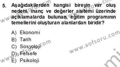 İngilizce Öğretmenliği Bölümü 3. Yarıyıl Öğretim İlke Ve Yöntemleri Dersi 2014 Yılı Güz Dönemi Ara Sınavı 5. Soru