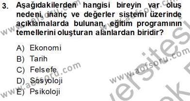 Öğretim İlke Ve Yöntemleri Dersi 2013 - 2014 Yılı Tek Ders Sınavı 3. Soru