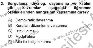 Öğretim İlke Ve Yöntemleri Dersi 2015 - 2016 Yılı Ara Sınavı 2. Soru
