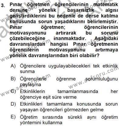 Öğretim İlke Ve Yöntemleri Dersi 2015 - 2016 Yılı Ara Sınavı 3. Soru