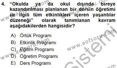 Öğretim İlke Ve Yöntemleri Dersi 2015 - 2016 Yılı Ara Sınavı 4. Soru