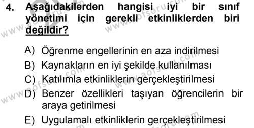 İngilizce Öğretmenliği Bölümü 5. Yarıyıl Sınıf Yönetimi Dersi 2013 Yılı Güz Dönemi Ara Sınavı 4. Soru
