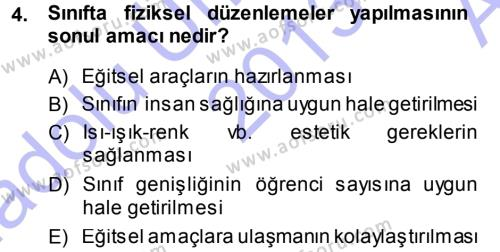 Sınıf Yönetimi Dersi 2013 - 2014 Yılı Ara Sınavı 4. Soru