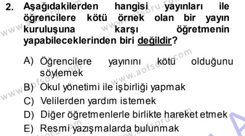 Sınıf Yönetimi Dersi 2013 - 2014 Yılı Dönem Sonu Sınavı 2. Soru