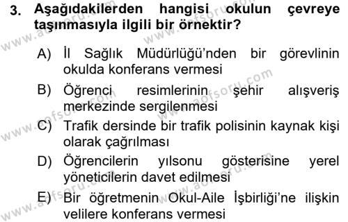 Sınıf Yönetimi Dersi 2015 - 2016 Yılı Ara Sınavı 3. Soru