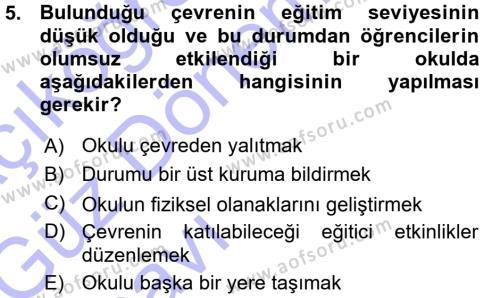 İngilizce Öğretmenliği Bölümü 5. Yarıyıl Sınıf Yönetimi Dersi 2016 Yılı Güz Dönemi Ara Sınavı 5. Soru