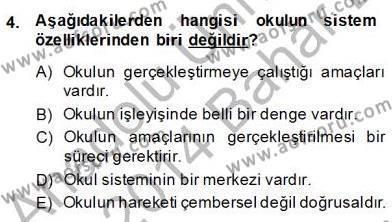 Okulöncesi Öğretmenliği Bölümü 8. Yarıyıl Türk Eğitim Sistemi Ve Okul Yönetimi Dersi 2014 Yılı Bahar Dönemi Dönem Sonu Sınavı 4. Soru