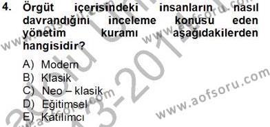 Türk Eğitim Sistemi Ve Okul Yönetimi Dersi 2013 - 2014 Yılı Tek Ders Sınavı 4. Soru