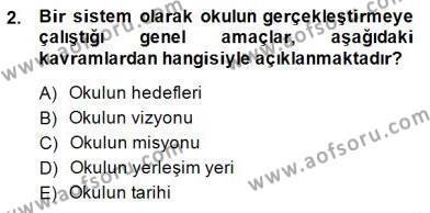 Türk Eğitim Sistemi Ve Okul Yönetimi Dersi 2014 - 2015 Yılı Ara Sınavı 2. Soru