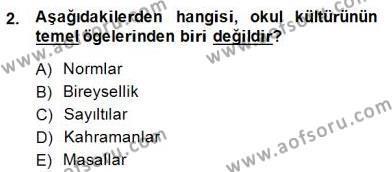Türk Eğitim Sistemi Ve Okul Yönetimi Dersi 2014 - 2015 Yılı Dönem Sonu Sınavı 2. Soru
