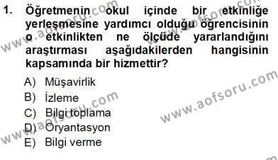 İngilizce Öğretmenliği Bölümü 7. Yarıyıl Rehberlik Dersi 2013 Yılı Güz Dönemi Ara Sınavı 1. Soru