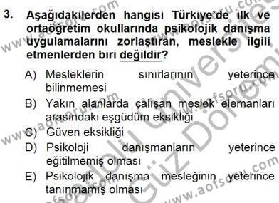 Rehberlik Dersi 2012 - 2013 Yılı Dönem Sonu Sınavı 3. Soru