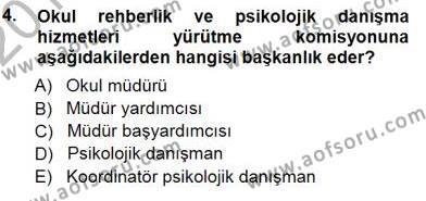 Rehberlik Dersi 2012 - 2013 Yılı Dönem Sonu Sınavı 4. Soru