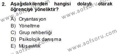 Rehberlik Dersi 2013 - 2014 Yılı Ara Sınavı 2. Soru