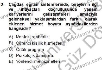 İngilizce Öğretmenliği Bölümü 7. Yarıyıl Rehberlik Dersi 2014 Yılı Güz Dönemi Ara Sınavı 3. Soru