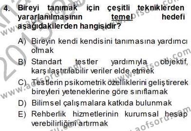 Rehberlik Dersi 2013 - 2014 Yılı Ara Sınavı 4. Soru
