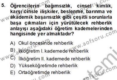 İngilizce Öğretmenliği Bölümü 7. Yarıyıl Rehberlik Dersi 2014 Yılı Güz Dönemi Ara Sınavı 5. Soru
