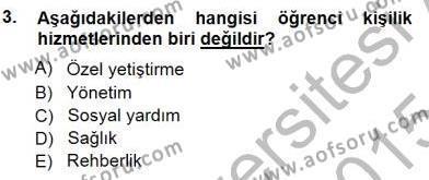 Rehberlik Dersi 2014 - 2015 Yılı Ara Sınavı 3. Soru