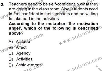 Özel Öğretim Yöntemleri Dersi 2013 - 2014 Yılı Ara Sınavı 2. Soru