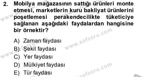 Perakendeciliğe Giriş Dersi 2012 - 2013 Yılı (Final) Dönem Sonu Sınav Soruları 2. Soru