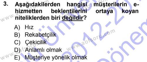 Perakendecilikte Müşteri İlişkileri Yönetimi Dersi 2012 - 2013 Yılı (Final) Dönem Sonu Sınav Soruları 3. Soru