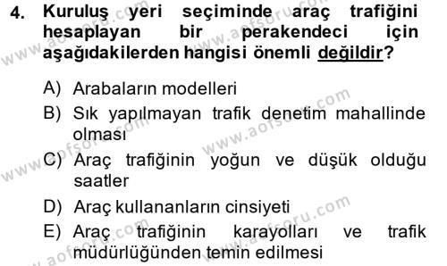Perakende Yönetimi Dersi 2014 - 2015 Yılı Tek Ders Sınav Soruları 4. Soru